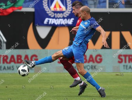 Gabriel Obertan (R) of PFC Levski in action against Sandro Wieser of Vaduz during the UEFA Europa League first qualifying round  2nd leg soccer match between PFC Levski and Vaduz in Sofia, Bulgaria, 17 July 2018.