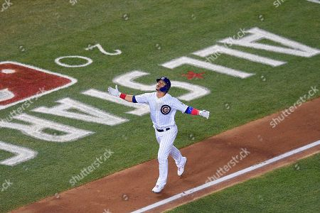 Chicago Cubs catcher Willson Contreras (40) looks up as he rounds the bases on a solo homer during the third inning of the Major League Baseball All-star Game, in Washington