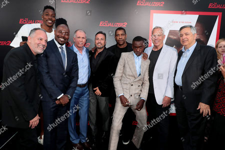 Todd Black, Producer, Dwight Howard, Antoine Fuqua, Director/Producer, Richard Wenk, Writer/Executive Producer, Jason Blumenthal, Producer, Denzel Washington, Producer/Actor, Ashton Sanders, Steve Tisch, Producer, and Tony Vinciquerra, Chairman and CEO, Sony Pictures Entertainment, attend the Los Angeles premiere of Columbia Pictures' THE EQUALIZER 2 at TCL Chinese Theatre, supported in part by Lyft.