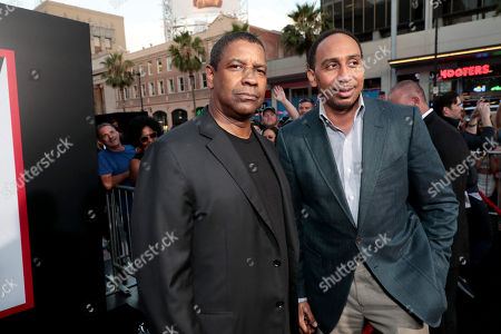 Denzel Washington, Producer/Actor, and ESPN's Stephen A. Smith attend the Los Angeles premiere of Columbia Pictures' THE EQUALIZER 2 at TCL Chinese Theatre, supported in part by Lyft.