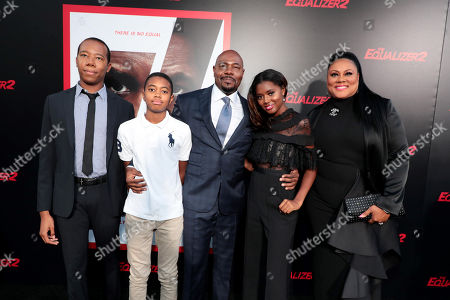 Stock Picture of Zachary Fuqua, Brando Fuqua, Antoine Fuqua, Director/Producer, Asia Rochon Fuqua and Lela Rochon attend the Los Angeles premiere of Columbia Pictures' THE EQUALIZER 2 at TCL Chinese Theatre, supported in part by Lyft.