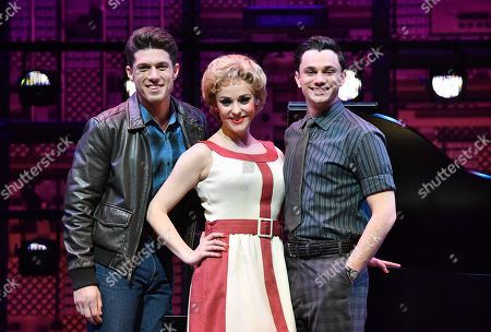 Stock Picture of Cast members Josh Piterman (L), Lucy Maunder (C) and Mat Verevis (R) are seen posing for a photograph during the media call for 'Beautiful: The Carole King Musical' at QPAC (Queensland Performing Arts Centre) in Brisbane, Queensland, 18 July 2018. The musical which charts the life of US singer and songwriter Carole King makes it's Brisbane premiere on 19 July night and runs until 02 September.