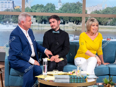 Stock Picture of This Morning Stage Manager Jack Ivens-Gardiner with Eamonn Holmes and Ruth Langsford