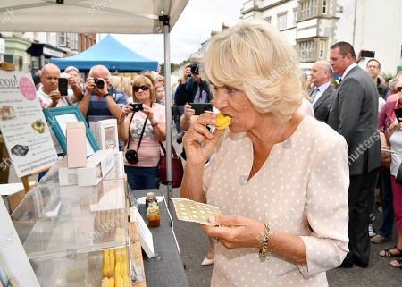 Camilla Duchess of Cornwall at the 'Gate-to-Plate' food market, meeting residents and local producers, Honiton
