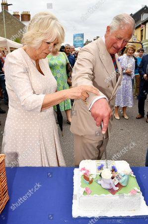 Camilla Duchess of Cornwall and Prince Charles at the 'Gate-to-Plate' food market, meeting residents and local producers, Honiton