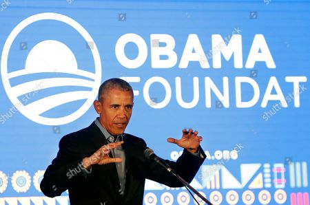 Stock Photo of Former US President Barack Obama speaks during his town hall for the Obama Foundation at the African Leadership Academy in Johannesburg, South Africa