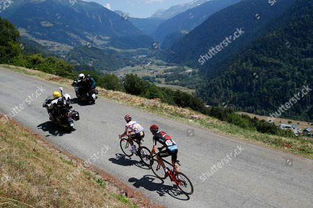 Quick Step Floors rider Julian Alaphilippe (L) of France and BMC Racing Team rider Tejay van Garderen (R) of the US in action during the 11th stage of the 105th edition of the Tour de France cycling race over 108,5km between Albertville and La Rosiere Espace San Bernardo, France, 18 July 2018.