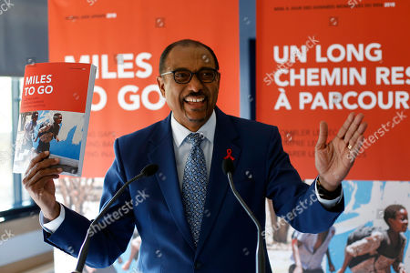 Stock Image of Embattled UNAIDS chief Michel Sidibe gestures during a press conference held in Paris, France, . Sidibe has said he will not quit his job over criticism of his handling of sexual harassment allegations at the Geneva-based agency
