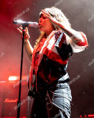 The American pop noise band Sleigh Bells with front woman Alexis Krauss performs at the Xfinity Center, in Mansfield, Mass