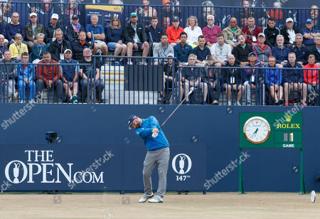 Andy Sullivan of England plays his tee shot on the first hole