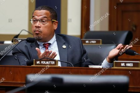 Keith Ellison, Steven Mnuchin. Rep. Keith Ellison, D-Mich., asks a question of Federal Reserve Board Chair Jerome Powell during a House Committee on Financial Services hearing, on Capitol Hill in Washington