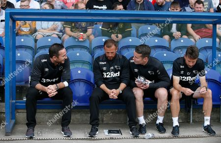 Derby County manager Frank Lampard enjoys a mike with Shay Given and Assistant Jody Morris