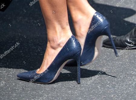 Close-up of the shoes worn by first lady Melania Trump as she and United States President Donald J. Trump arrive back at the White House in Washington, DC after a trip to Joint Base Andrews to pay their respects to the family of fallen United States Secret Service Special Agent Nole Edward Remagen who suffered a stroke while on duty in Scotland.