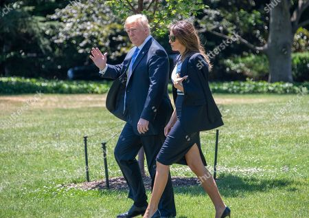 United States President Donald J. Trump and first lady Melania Trump depart the White House in Washington, DC en route to Joint Base Andrews where they will pay their respects to the family of fallen United States Secret Service Special Agent Nole Edward Remagen who suffered a stroke while on duty in Scotland.