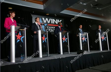 Democratic gubernatorial candidates are shown during a debate held at Florida Gulf Coast University's Cohen Center, in Fort Myers, Fla. From left: former U.S. Rep. Gwen Graham, Orlando businessman Chris King, Tallahassee Mayor Andrew Gillum, Palm Beach billionaire Jeff Greene and former Miami Beach mayor Philip Levine