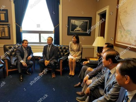 South Korea's parliamentary delegation meets Rep. Ed Royce (L), chairman of the US House Foreign Affairs Committee, in Washington, DC, USA, 18 July 2018. The delegation, comprised of floor leaders of five ruling and opposition parties, is visiting Washington to push South Korea's security and economic agenda.
