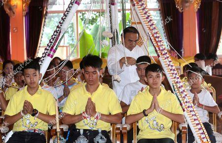 Rescued Thai football team attend a Buddhist ceremony, Mae Sai
