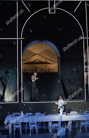 Peter Lohmeyer as death (back) and Tobias Moretti as Jedermann perform on stage during a rehearsal of Hugo von Hofmannsthal's Jedermann (Everyman) at the Domplatz square in Salzburg, Austria, 18 July 2018 (issued 19 July 2018). The play Jedermann, one of the highlights of the Salzburg festival, which was established in 1920, runs from 20 July to 30 August 2018.