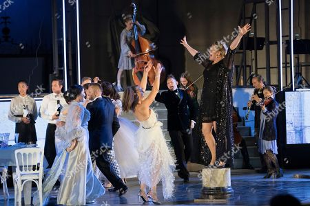 Stock Picture of Stefanie Reinsperger as Buhlschaft performs on stage during a rehearsal of Hugo von Hofmannsthal's Jedermann (Everyman) at the Domplatz square in Salzburg, Austria, 18 July 2018 (issued 19 July 2018). The play Jedermann, one of the highlights of the Salzburg festival, which was established in 1920, runs from 20 July to 30 August 2018.