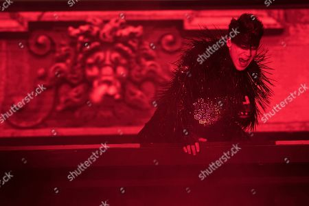 Stock Photo of Hanno Koffler as 'Teufel' (devil) performs on stage during a rehearsal of Hugo von Hofmannsthal's Jedermann (Everyman) at the Domplatz square in Salzburg, Austria, 18 July 2018 (issued 19 July 2018). The play Jedermann, one of the highlights of the Salzburg festival, which was established in 1920, runs from 20 July to 30 August 2018.