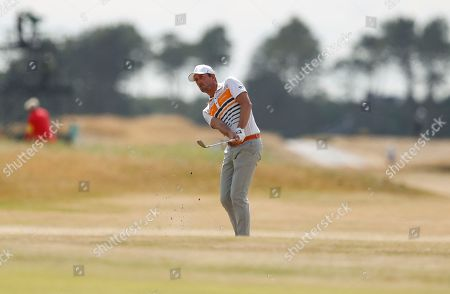 Alexander Bjork of Sweden plays a shot on the 18th hole during the first round of the British Open Golf Championship in Carnoustie, Scotland