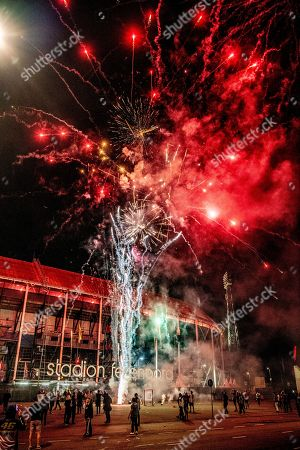 Feyenoord football fans celebrate the clubs 110 year anniversary