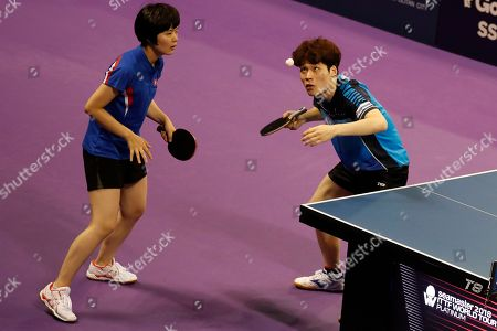 Stock Photo of Jang Woo-jin (R) of South Korea and Cha Hyo-sim of North Korea in action during their mixed doubles match against Kit Kwan Ho and Ching Ho Lee of Hongkong at the International Table Tennis Federation (ITTF) World Tour Platinum Korean Open in Daejeon, 160 kilometers south of Seoul, South Korea, 19 July 2018.