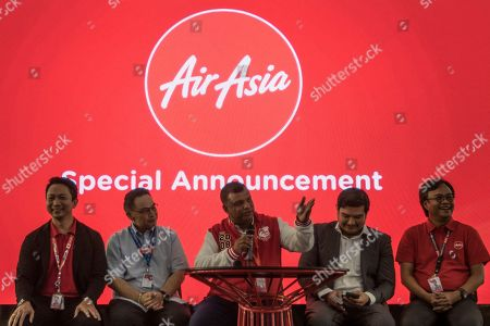 AirAsia Group CEO and AirAsia X Co-Group CEO, Tony Fernandes (C) speaks during a special announcement press conference in Sepang, Selangor, Malaysia, 19 July 2018. AirAsia X's is the largest airline customer to order Airbus A330neo aircraft with the order increasing to 100. AirAsia X will be the first airline in Asia to operate the A330neo scheduled to start in the fourth quarter of 2019.
