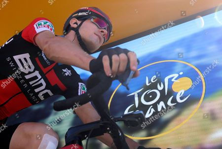 Tejay van Garderen of the U.S. arrives for the start of the twelfth stage of the Tour de France cycling race over 175.5 kilometers (109 miles) with start in Bourg-Saint-Maurice Les Arcs and Alpe d'Huez, France