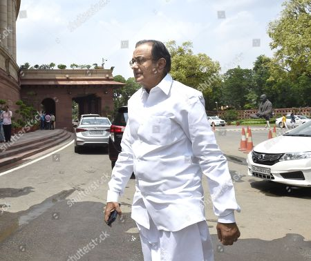 Congress leader P. Chidambaram arrives at the Parliament house on the first day of the Monsoon session