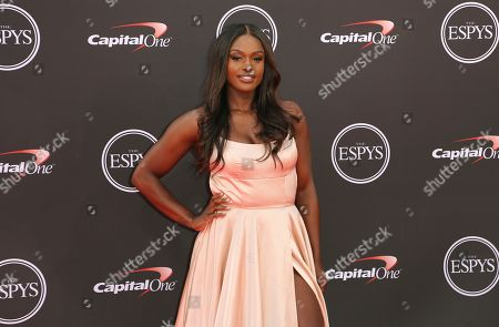 Bobsledder Aja Evans arrives at the ESPY Awards at Microsoft Theater, in Los Angeles