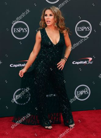 Wrestler Mickie James arrives at the ESPY Awards at the Microsoft Theater, in Los Angeles