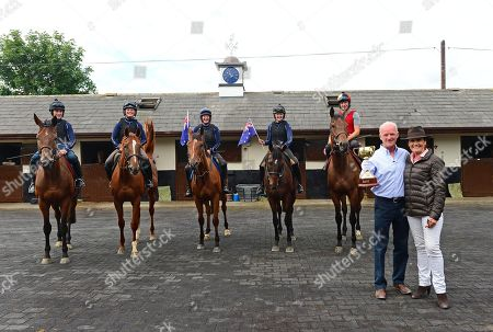 Closutton Stables,Co.Carlow. Amanda Elliott of Victoria Racing Club paid a visit to Trainer WILLIE MULLINS with The Lexus Melbourne Cup and we see some of his hopeful runners ahead of this year's race (L-R) Chelkar, Limini, Thomas Hobson, Max Dynamite and Gustavus Vassa.