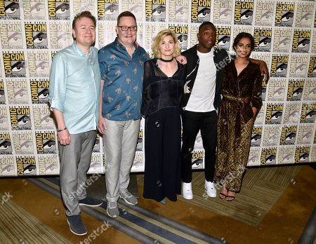 "Matt Strevens, Chris Chibnall, Jodie Whittaker, Tosin Cole, Mandip Gill. Matt Strevens, from left, Chris Chibnall, Jodie Whittaker, Tosin Cole and Mandip Gill arrive at the ""Doctor Who"" press line on day one of Comic-Con International, in San Diego"
