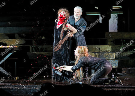 (R-L) Linn Reusse as Swanhild daughter von Siegfried und Kriemhild, Juergen Prochnow as Hunnenkoenig and Pheline Roggan as Schamanin, perform on stage during a photo rehearsal of 'Siegfrieds Erben' for the Nibelungen Festival Worms, in Worms, Germany, 19 July 2018. The festival features the old Norse and Germanic mythology saga of the 'Nibelungen' about the life and love, treason and tragedy of the Burgundians royal family and their legendary treasure in Worms in the fifth century. This year's festival titled 'Siegfrieds Erben' and will held on a open-air stage in front of Worms Cathedral from 20 July to 5 August 2018.