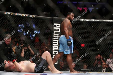 Josh Copeland,Shawn Jordan,Andre Harrison,Bas Rutten. Kelvin Tiller gets up after defeating Jared Rosholt during their mixed martial arts bout at PFL 4, at Nassau Coliseum in New York. Tiller won via 2nd round submission