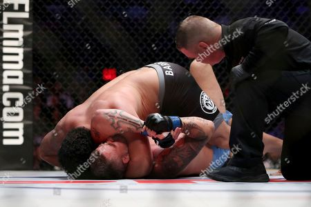 Josh Copeland,Shawn Jordan,Andre Harrison,Bas Rutten. Francimar Barroso, top, sinks in a head and arm choke against Jack May during their mixed martial arts bout at PFL 4, at Nassau Coliseum in New York. Barroso won via submission in round 1