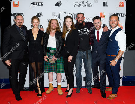 Stock Picture of Cast of the film 'Of Gods and Warriors' including Martin Ekhlof, Kajsa Mohammar, Anna Demetriou, Chris Finlayson, Laurence O'Fuarain and Will Mellor