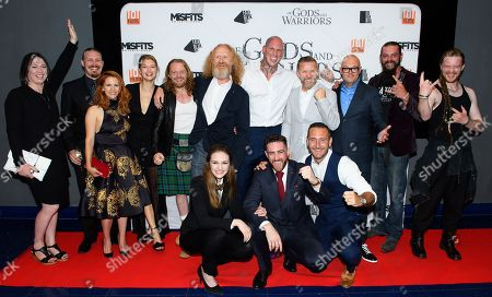 Cast of the film 'Of Gods and Warriors' including Andee Ryder, Martin Ekhlof, Victoria Broom, Kajsa Mohammar, Martyn Ford, Timo Nieminen, David L.G. Hughes, Chris Finlayson, Anna Demetriou, Laurence O'Fuarain and Will Mellor