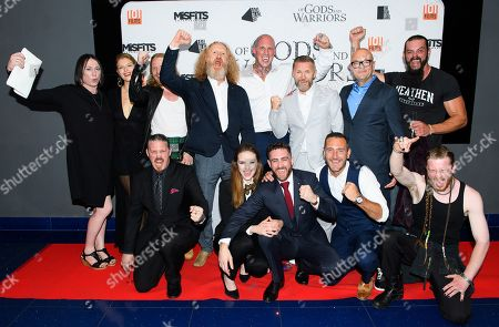 Cast of the film 'Of Gods and Warriors' including Andee Ryder, Martin Ekhlof, Kajsa Mohammar, Martyn Ford, Timo Nieminen, David L.G. Hughes, Chris Finlayson, Anna Demetriou, Laurence O'Fuarain and Will Mellor