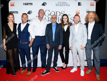 Stock Image of Cast of the film 'Of Gods and Warriors' including Kajsa Mohammar, Will Mellor, Martyn Ford, David L.G. Hughes, Anna Demetriou, Timo Nieminen
