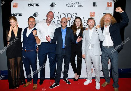 Stock Photo of Cast of the film 'Of Gods and Warriors' including Kajsa Mohammar, Will Mellor, Martyn Ford, David L.G. Hughes, Anna Demetriou, Timo Nieminen