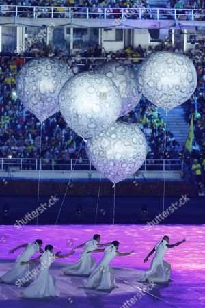 A group of dancers hold white balloons during the opening ceremony of the 23rd Central American and Caribbean Games, in Barranquilla, Colombia, 19 July 2018. The inauguration ceremony, which features Colombian international star Shakira as the main artist, began with the appearance of the former Miss Universe and Colombian model Paulina Vega in the center of the stadium at the Roberto Melendez Metropolitan Stadium in Barranquilla.