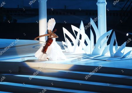 Colombian cellist Dina Castillo performs during the opening ceremony of the 23rd Central American and Caribbean Games, in Barranquilla, Colombia, 19 July 2018. The inauguration ceremony, which features Colombian international star Shakira as the main artist, began with the appearance of the former Miss Universe and Colombian model Paulina Vega in the center of the stadium at the Roberto Melendez Metropolitan Stadium in Barranquilla.