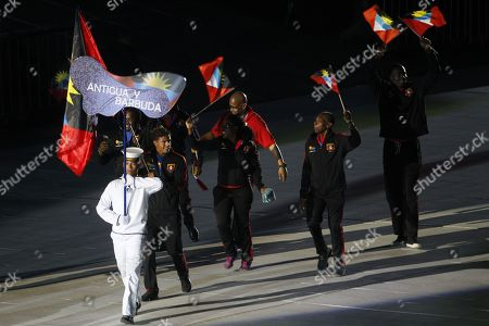 The delegation of Antigua and Barbuda attends the opening ceremony of the 23rd Central American and Caribbean Games, in Barranquilla, Colombia, 19 July 2018. The inauguration ceremony, which features Colombian international star Shakira as the main artist, began with the appearance of the former Miss Universe and Colombian model Paulina Vega in the center of the stadium at the Roberto Melendez Metropolitan Stadium in Barranquilla.