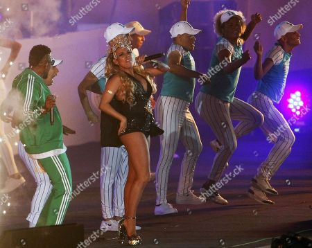 Colombian singer Maia (C-L) performs during the opening ceremony of the 23rd Central American and Caribbean Games, in Barranquilla, Colombia, 19 July 2018. The inauguration ceremony, which features Colombian international star Shakira as the main artist, began with the appearance of the former Miss Universe and Colombian model Paulina Vega in the center of the stadium at the Roberto Melendez Metropolitan Stadium in Barranquilla.