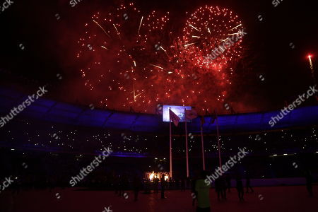 Fireworks light the sky over the 23rd Central American and Caribbean Games, in Barranquilla, Colombia, 19 July 2018. The inauguration ceremony, which features Colombian international star Shakira as the main artist, began with the appearance of the former Miss Universe and Colombian model Paulina Vega in the center of the stadium at the Roberto Melendez Metropolitan Stadium in Barranquilla.