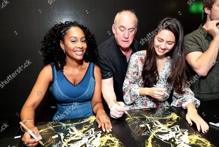 """Simone Missick, Jeph Loeb, Executive Producer, Head of Marvel Television, and Jessica Henwick attend Netflix """"Marvel's Iron Fist"""" at San Diego Comic-Con 2018."""