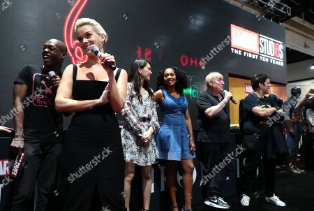 "Alice Eve, Jessica Henwick, Simone Missick, Jeph Loeb, Executive Producer, Head of Marvel Television, and Raven Metzner, Executive Producer, attend Netflix ""Marvel's Iron Fist"" at San Diego Comic-Con 2018."