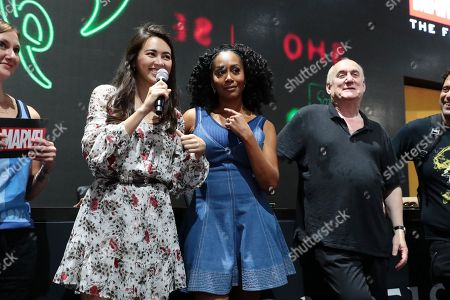 """Jessica Henwick, Simone Missick and Jeph Loeb, Executive Producer, Head of Marvel Television, attend Netflix """"Marvel's Iron Fist"""" at San Diego Comic-Con 2018."""